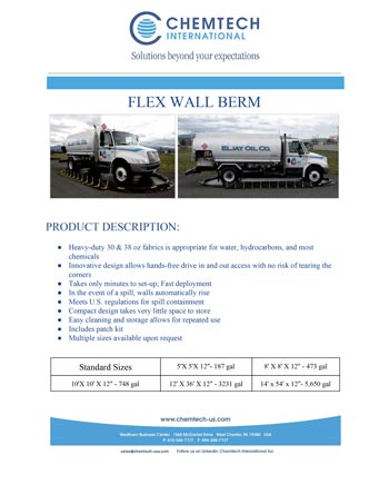 chemtech-us-products-catalog-cover-spill-containment-berms-FLEXWALLBERM Spill Containment Berms
