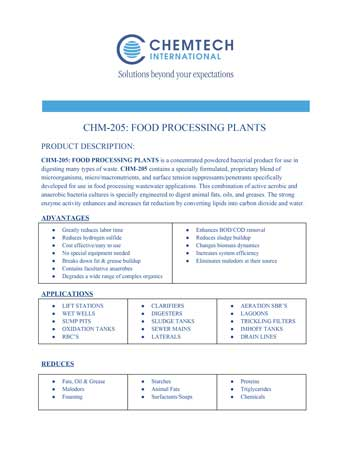chemtech-us-products-catalog-cover-waste-water-treatment-CHM-205FoodProcessingPlants Waste Water Treatment