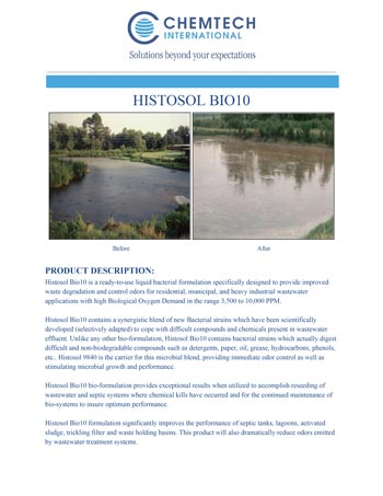 chemtech-us-products-catalog-cover-waste-water-treatment-HISTOSOL-Bio-10-1 Waste Water Treatment